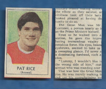 Arsenal Pat Rice Northern Ireland 1970